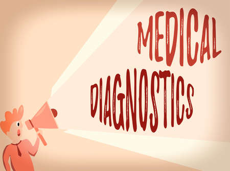 Writing note showing Medical Diagnostics. Business concept for act of identifying a disease from its signs and symptoms Man Talking Holding Megaphone Extended Volume Pitch Power