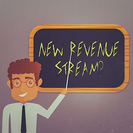 Text sign showing New Revenue Stream Question. Business photo showcasing Additional Enhanced Source of Income Improved Approach Man Standing Holding Stick Pointing to Wall Mounted Blank Color Board