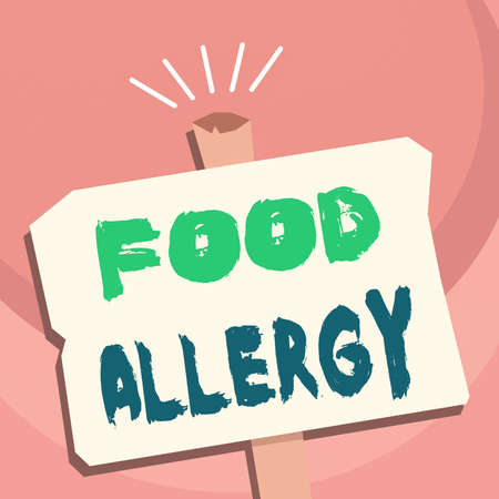 Handwriting text writing Food Allergy. Conceptual photo abnormal immune system response to allergen after eaten Blank Old Weathered Signpost Geometrical Shape Halftone with One stand Stock Photo