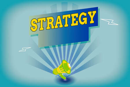 Writing note showing Strategy. Business concept for action plan or strategy designed to achieve an overall goal Megaphone Lightning Burst and Rectangular form with shadow
