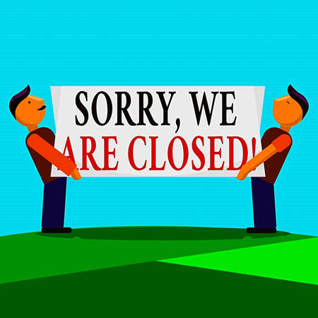 Writing note showing Sorry, We Are Closed. Business concept for apologize for shutting off business for specific time Two Men Standing Carrying Rectangular Blank Panel Board on Both Sides 版權商用圖片