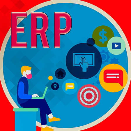 Handwriting text writing Erp. Conceptual photo enterprise resource planning centralized database for business processes Man Sitting Down with Laptop on his Lap and SEO Driver Icons on Blank Space 免版税图像