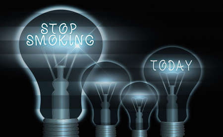 Conceptual hand writing showing Stop Smoking. Concept meaning the process of discontinuing or quitting tobacco smoking Realistic colored vintage light bulbs, idea sign solution
