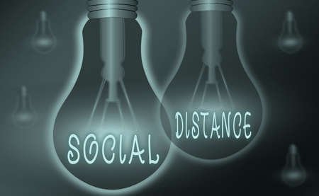 Text sign showing Social Distance. Business photo showcasing degree of acceptance of general interaction of individuals Realistic colored vintage light bulbs, idea sign solution thinking concept