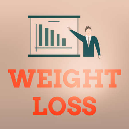 Writing note showing Weight Loss. Business concept for a reduction of the total body mass due to a mean loss of fluid Man in Business Suit Pointing a Board Bar Chart Copy Space