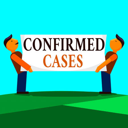 Writing note showing Confirmed Cases. Business concept for set of circumstances or conditions requiring action Two Men Standing Carrying Rectangular Blank Panel Board on Both Sides Reklamní fotografie