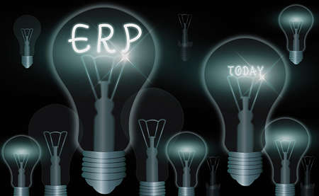 Word writing text Erp. Business photo showcasing enterprise resource planning centralized database for business processes Realistic colored vintage light bulbs, idea sign solution thinking concept