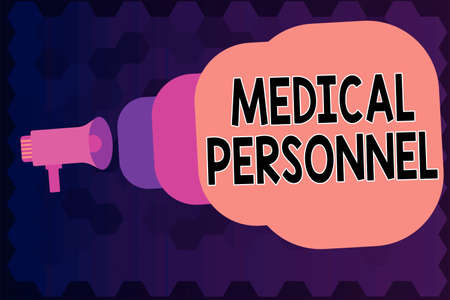 Writing note showing Medical Personnel. Business concept for trusted healthcare service provider allowed to treat illness Megaphone coming out of on envelope announcing and talking Stock Photo