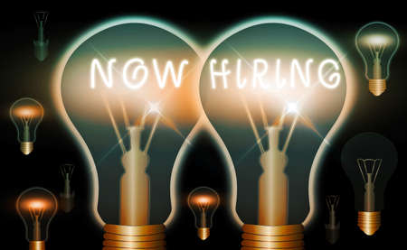 Handwriting text Now Hiring. Conceptual photo an act of starting to employ someone qualified for the position Realistic colored vintage light bulbs, idea sign solution thinking concept Stockfoto