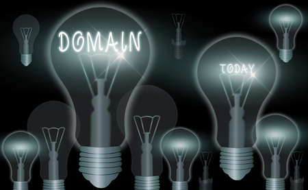 Word writing text Domain. Business photo showcasing identification string that defines a realm of administrative autonomy Realistic colored vintage light bulbs, idea sign solution thinking concept