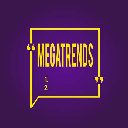 Text sign showing Megatrends. Business photo text global patterns related to behavior mobility and environment Blank Square Border Outline Quote Bubble with Quotation Mark Punctuation Stok Fotoğraf