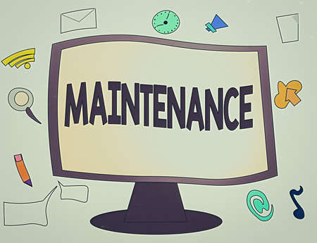 Conceptual hand writing showing Maintenance. Concept meaning method of preserving or maintaining someone or something Web Application Software icons Surrounding Computer Monitor