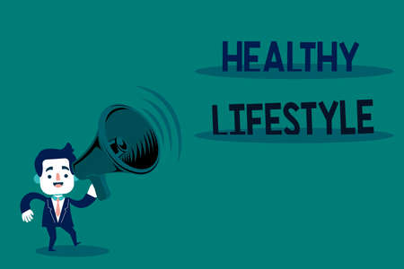 Conceptual hand writing showing Healthy Lifestyle. Concept meaning way of living that lowers the risk of being seriously ill Man in Suit Earpad Moving Holding Megaphone with Sound icon