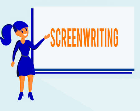 Text sign showing Screenwriting. Business photo text the art and craft of writing scripts for media communication Wo analysis Standing Talking Hand Presenting Audio Visual Blank Projector Screen