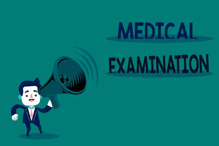 Conceptual hand writing showing Medical Examination. Concept meaning the examination carried out to determine physical fitness Man in Suit Earpad Moving Holding Megaphone with Sound icon