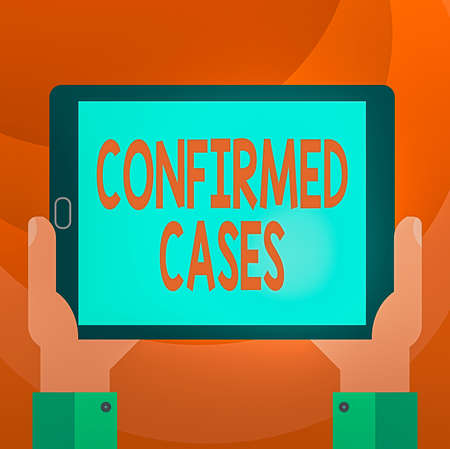 Text sign showing Confirmed Cases. Business photo showcasing set of circumstances or conditions requiring action Hu analysis Hand Holding Blank Screen Tablet Smartphone Display Unit photo Reklamní fotografie