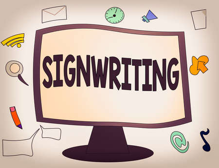 Conceptual hand writing showing Signwriting. Concept meaning any type of clear lettering intended for use on symbols Web Application Software icons Surrounding Computer Monitor