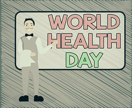 Text sign showing World Health Day. Business photo text global health awareness day celebrated every year on 7 April Male Waiter Smiling Standing in Uniform Hand Presenting Blank Menu Board Stockfoto