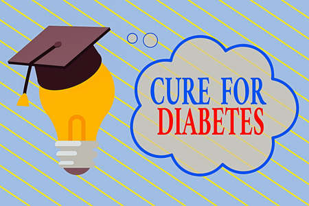 Word writing text Cure For Diabetes. Business photo showcasing looking for medication through insulindependent 3D Graduation Cap Thinking Resting on Bulb with Blank Cloud Thought Bubble