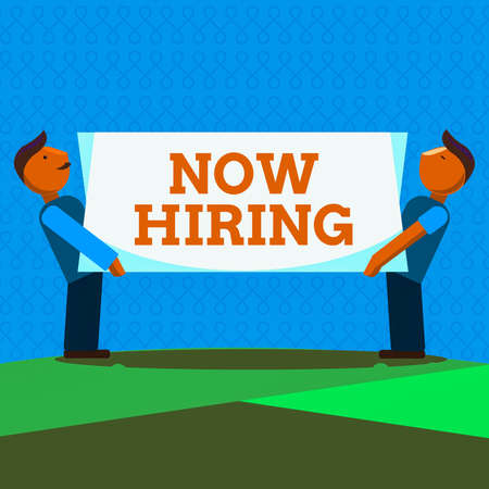 Word writing text Now Hiring. Business photo showcasing an act of starting to employ someone qualified for the position Two Men Standing Carrying Rectangular Blank Panel Board on Both Sides Stockfoto
