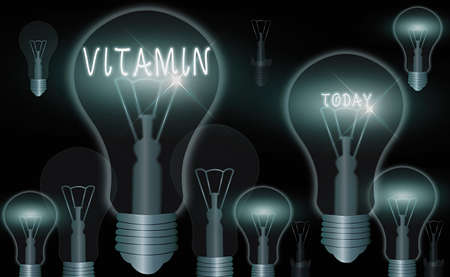 Word writing text Vitamin. Business photo showcasing organic molecule that is essential micronutrient that organism needs Realistic colored vintage light bulbs, idea sign solution thinking concept