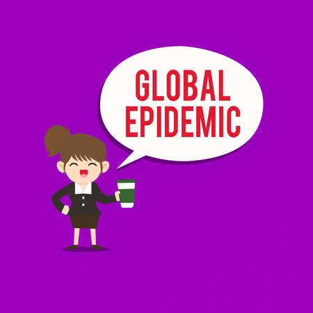 Text sign showing Global Epidemic. Business photo text a rapid spread of a communicable disease over a wide geographic area Female Hu analysis Wearing Uniform Holding a coffee To Go Cup and Speech Bubble 版權商用圖片