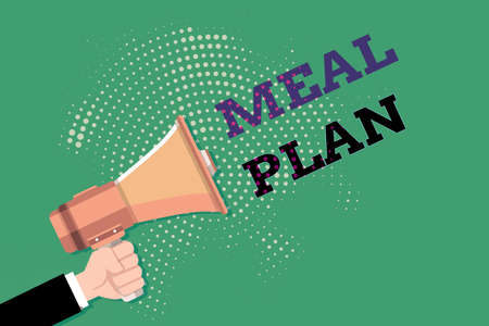 Text sign showing Meal Plan. Business photo showcasing act of taking time to plan any number of meals for the week Male Hu analysis Hand Holding Gripping a Megaphone on Dotted Halftone Pattern