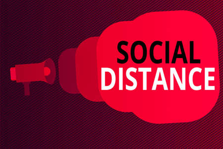 Word writing text Social Distance. Business photo showcasing maintaining a high interval physical distance for public health safety Megaphone making public announcement Speech Bubble gets bigger and nearer Imagens