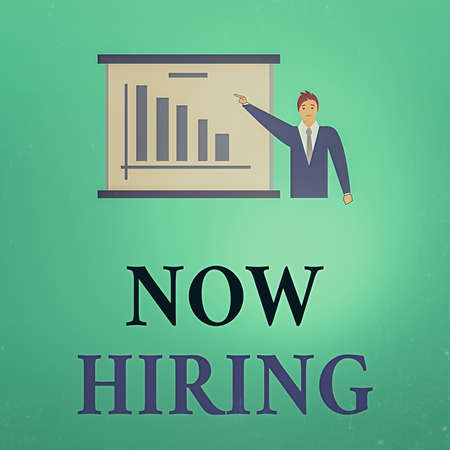 Conceptual hand writing showing Now Hiring. Concept meaning an act of starting to employ someone qualified for the position Man in Business Suit Pointing a Board Bar Chart Copy Space