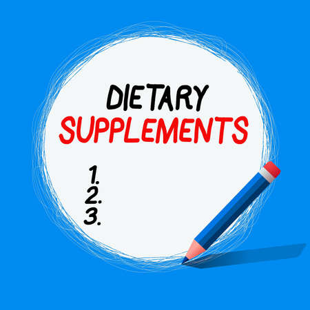 Text sign showing Dietary Supplements. Business photo showcasing product intended to supplement the diet taken orally Freehand Scribbling of circular lines Using Pencil on White Solid Circle