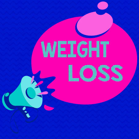 Word writing text Weight Loss. Business photo showcasing a reduction of the total body mass due to a mean loss of fluid Megaphone with Sound Effect icon and Blank Round Halftone Thought Bubble 免版税图像