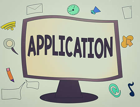Conceptual hand writing showing Application. Concept meaning an order for something formal and usually written form Web Application Software icons Surrounding Computer Monitor