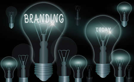 Word writing text Branding. Business photo showcasing promotion of product by means of advertising and distinctive design Realistic colored vintage light bulbs, idea sign solution thinking concept