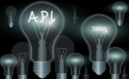 Word writing text Api. Business photo showcasing set of routines, protocols, and tools for building software applications Realistic colored vintage light bulbs, idea sign solution thinking concept