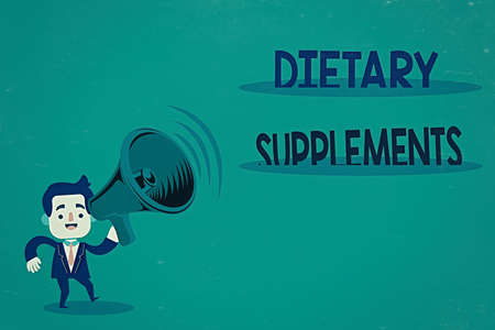 Conceptual hand writing showing Dietary Supplements. Concept meaning product intended to supplement the diet taken orally Man in Suit Earpad Moving Holding Megaphone with Sound icon