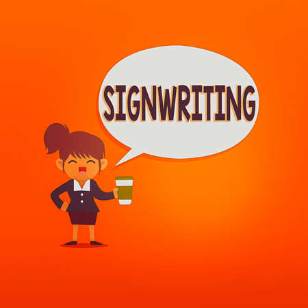 Handwriting text Signwriting. Conceptual photo any type of clear lettering intended for use on symbols Female Hu analysis Wearing Uniform Holding a coffee To Go Cup and Speech Bubble