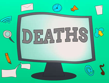 Handwriting text Deaths. Conceptual photo permanent cessation of all vital signs, instance of dying individual Web Application Software icons Surrounding Blank Mounted Computer Monitor