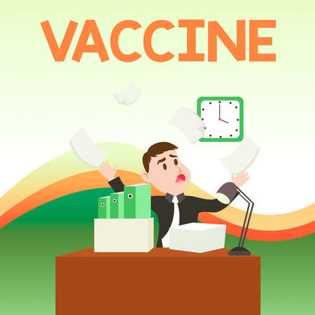 Text sign showing Vaccine. Business photo text preparation of killed microorganisms or living attenuated organisms Confused Male Employee Manager Cluttered Workspace Overflow Time Shortage