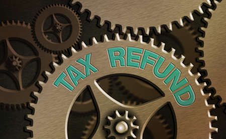 Conceptual hand writing showing Tax Refund. Concept meaning excess payment of paid taxes returned to business owners System administrator control, gear configuration settings