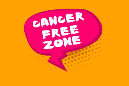 Text sign showing Cancer Free Zone. Business photo text supporting cancer patients and raising awareness of cancer Blank Oblong Halftone Speech Bubble Text Balloon with Zigzag Tail and Shade
