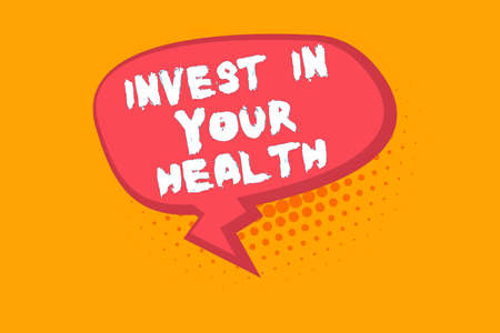 Text sign showing Invest In Your Health. Business photo text put money on maintenance or improvement of your health Blank Oblong Halftone Speech Bubble Text Balloon with Zigzag Tail and Shade