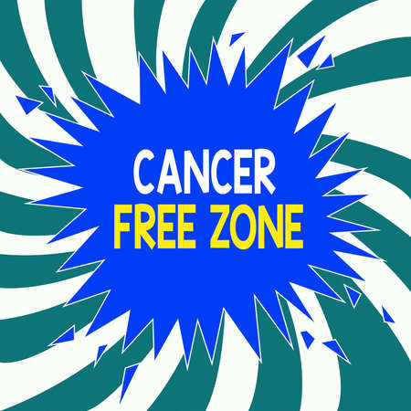 Conceptual hand writing showing Cancer Free Zone. Concept meaning supporting cancer patients and raising awareness of cancer Exploding Cracking Breaking Speech Bubble Sound on Burst
