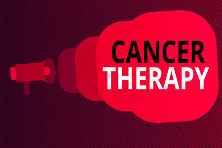Word writing text Cancer Therapy. Business photo showcasing the treatment of cancer in a patient often with chemotherapy Megaphone making public announcement Speech Bubble gets bigger and nearer