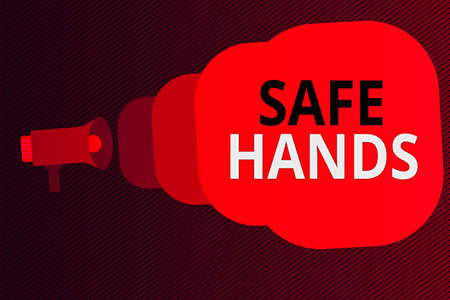 Word writing text Safe Hands. Business photo showcasing Ensuring the sterility and cleanliness of the hands for decontamination Megaphone making public announcement Speech Bubble gets bigger and nearer