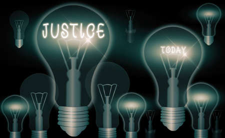 Word writing text Justice. Business photo showcasing use of power as appointed by law standards to support fair treatment Realistic colored vintage light bulbs, idea sign solution thinking concept 写真素材