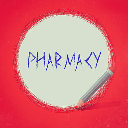 Text sign showing Pharmacy. Business photo text the practice of prescription drug preparation and dispensing Freehand Scribbling of circular lines Using Pencil on White Solid Circle