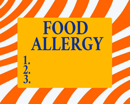 Text sign showing Food Allergy. Business photo showcasing abnormal immune system response to allergen after eaten Horizontal Rectangular Shape with Bended Corner Blank Four sides Figure Imagens
