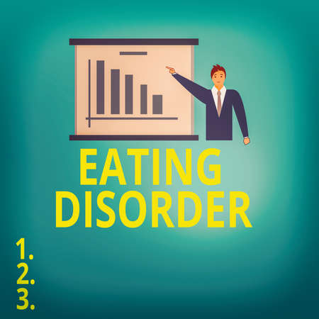 Text sign showing Eating Disorder. Business photo showcasing illnesses or severe disturbances in their eating behaviors Man in Business Suit Standing Pointing a Board with Bar Chart Copy Space