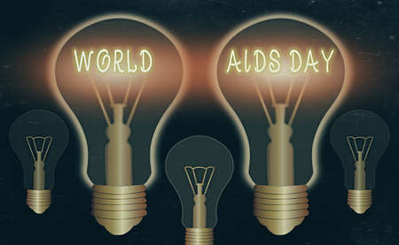 Writing note showing World Aids Day. Business concept for an international day to raised awareness of the AIDS pandemic Realistic colored vintage light bulbs, idea sign solution Banque d'images