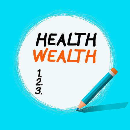 Text sign showing Health Wealth. Business photo showcasing healthy mind and body can bring you wealth and happiness Freehand Scribbling of circular lines Using Pencil on White Solid Circle